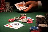 Fotografie die Winning hand Backjack Casino-Kartenspiel