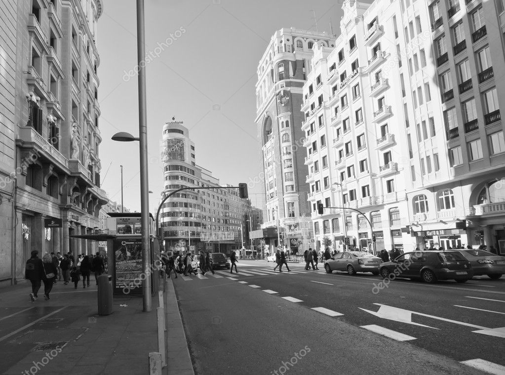 View the Gran Via of Madrid. Black & white photography