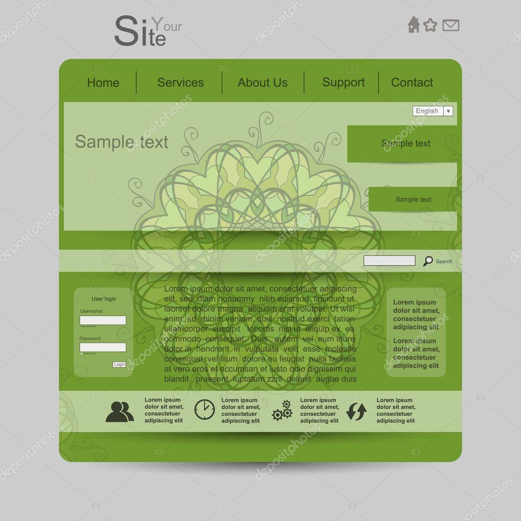 Green web with mandala