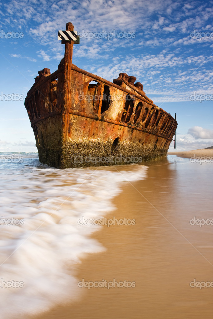 The old and rusty boat shipwreck — Stock Photo © Akajammer