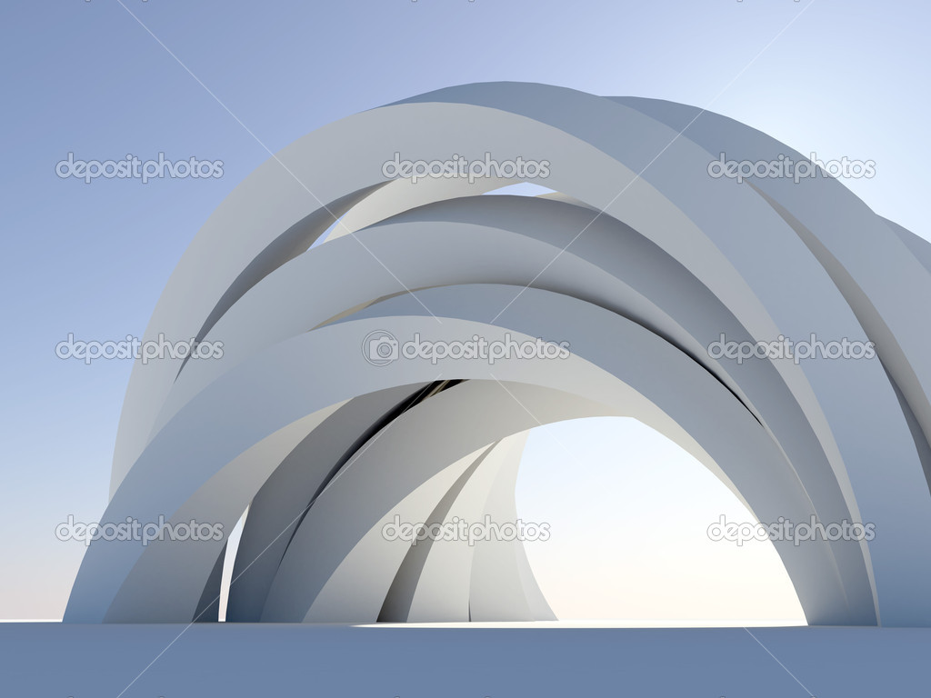 Abstract arch on blue stock vector