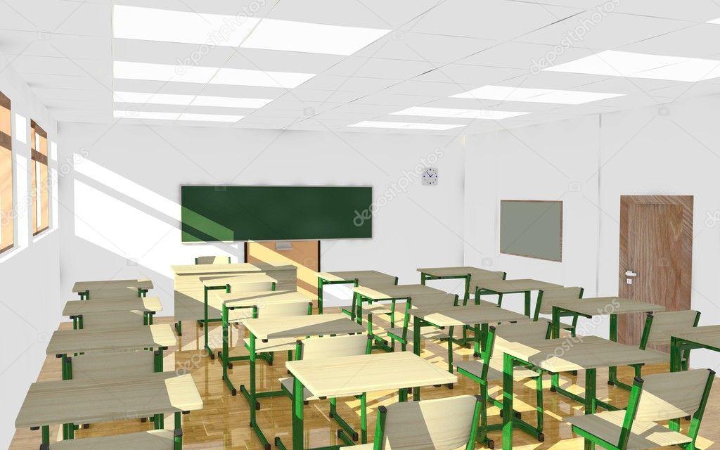 Rendu 3d de l 39 int rieur de la salle de classe photo for College lasalle design interieur