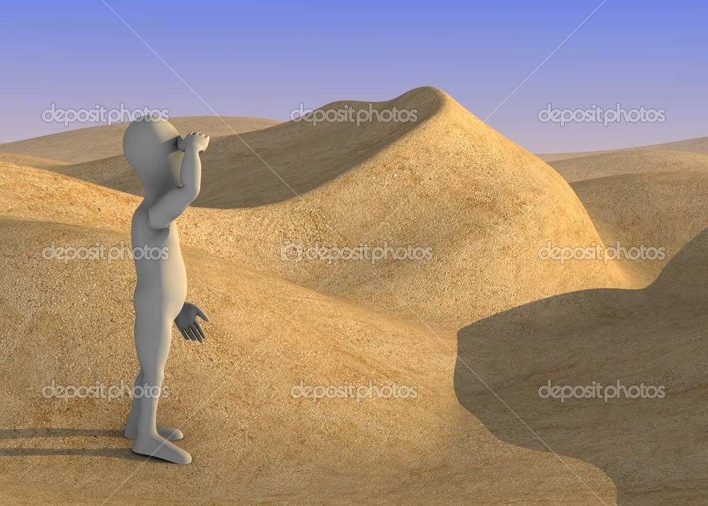 3d render of cartoon character on sand desert — Stock Photo