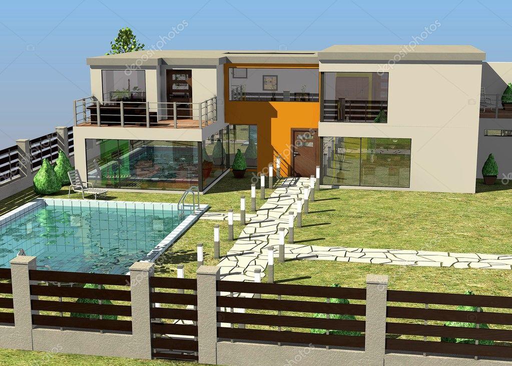 Rendu 3D Du0027architecture Maison Moderneu2013 Images De Stock Libres De Droits