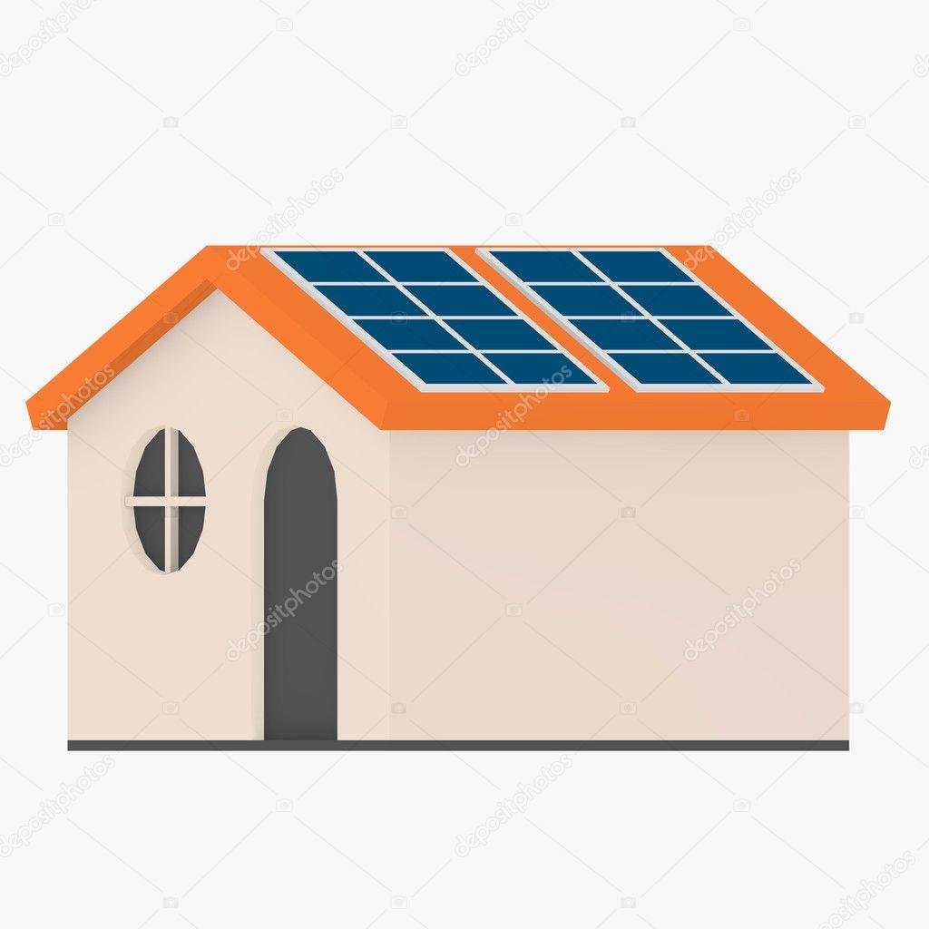 Im genes paneles solares dibujo render 3d de casa de - Casas con placas solares ...