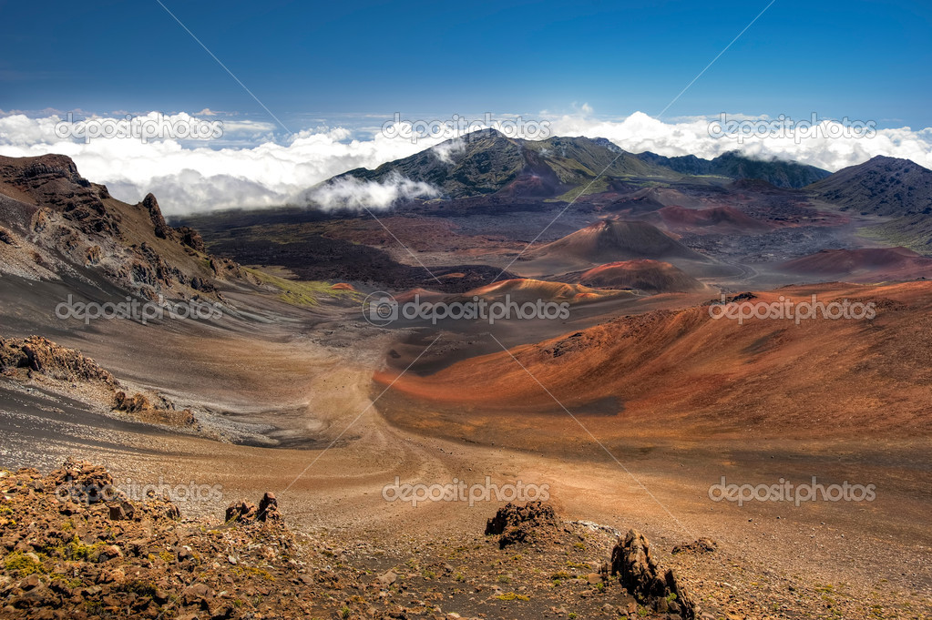 This image shows Haleakala Crater on the island of Maui, Hawaii