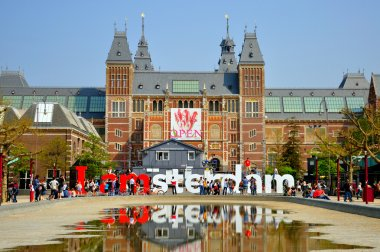 Rijksmuseum with big letters in Amsterdam, Holland (Netherlands)