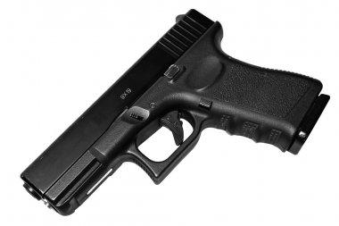Black 9mm handgun isolated