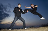Karate training by sunset