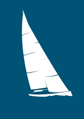 White stylized yacht on blue background