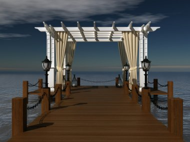 Romantic wedding gazebo with wooden pergola at the pier on the sea