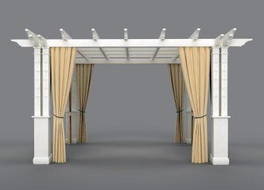 Romantic wedding gazebo with wooden pergola and drapery. isolated on gray background