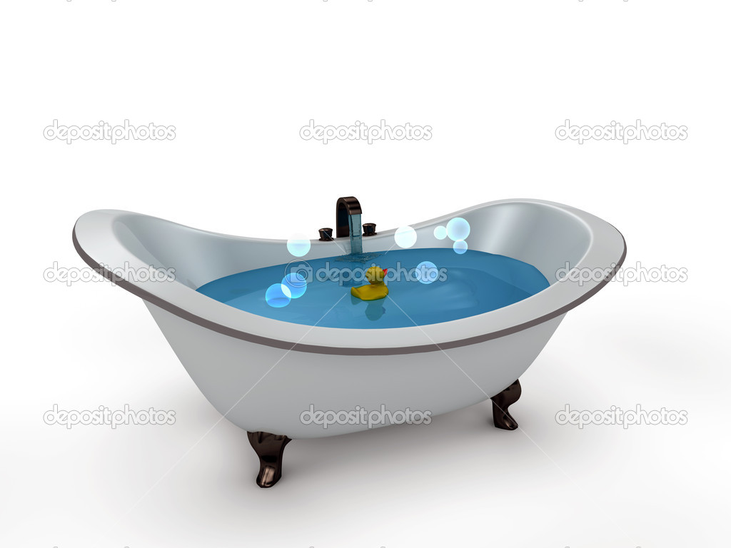 Bathtub with bubbles. isolated with a white background — Stock Photo ...
