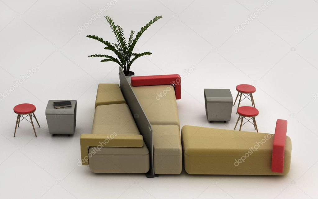 Lounge Area And A Waiting Area.Furniture Isolated On White Background U2014  Stock Photo #