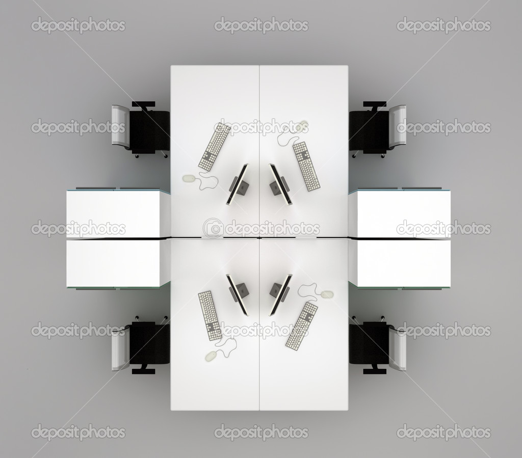 Office furniture top view - System Office Desks Isolated On Gray Background Top View Stock Photo 10150686