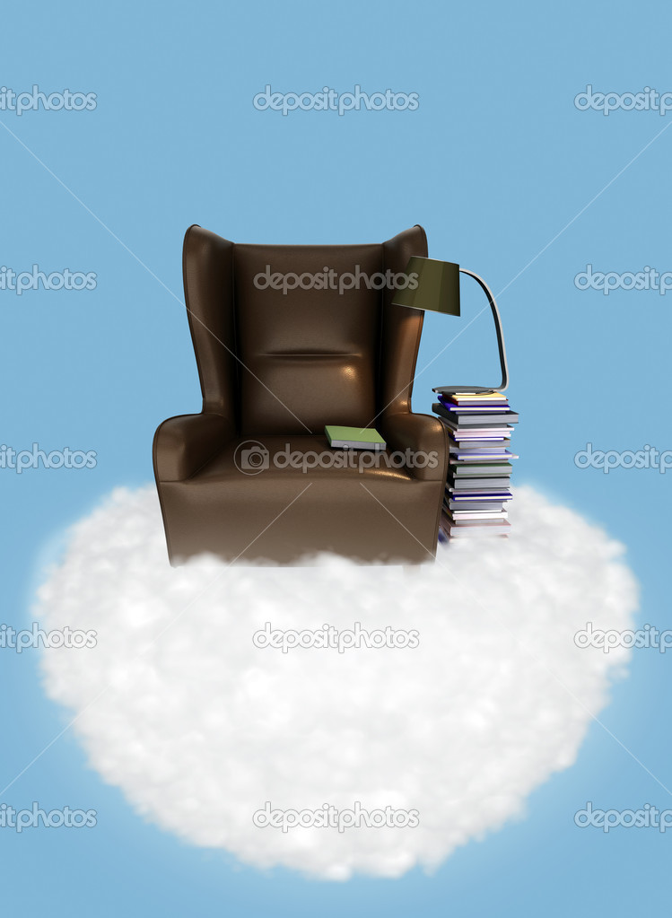 Illustration of relaxation. chair and a stack of books on a cloud in the sky