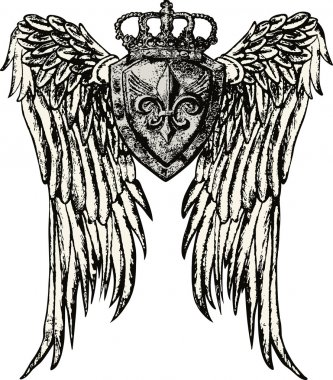 Fleur de lis royal emblem with wing clip art vector
