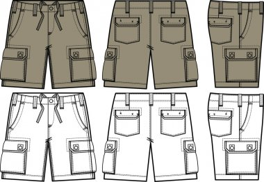 Men cargo shorts in different side view
