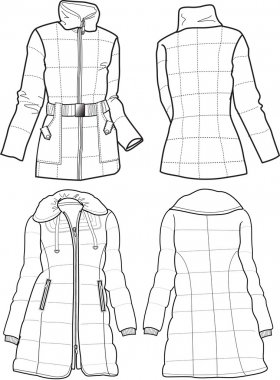 Lady quilted jackets stock vector