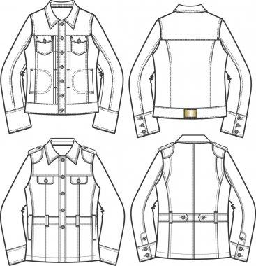 Woman denim jackets stock vector