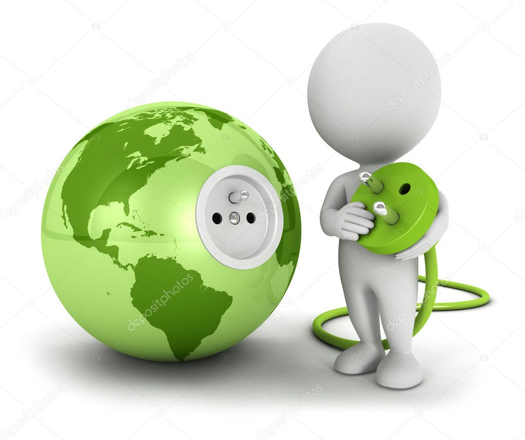 3d white connects plug inside green earth