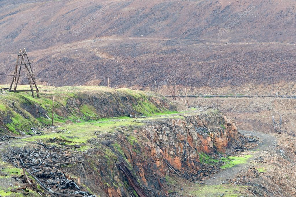Abandoned quarry for the extraction of copper ore at Norilsk Russia