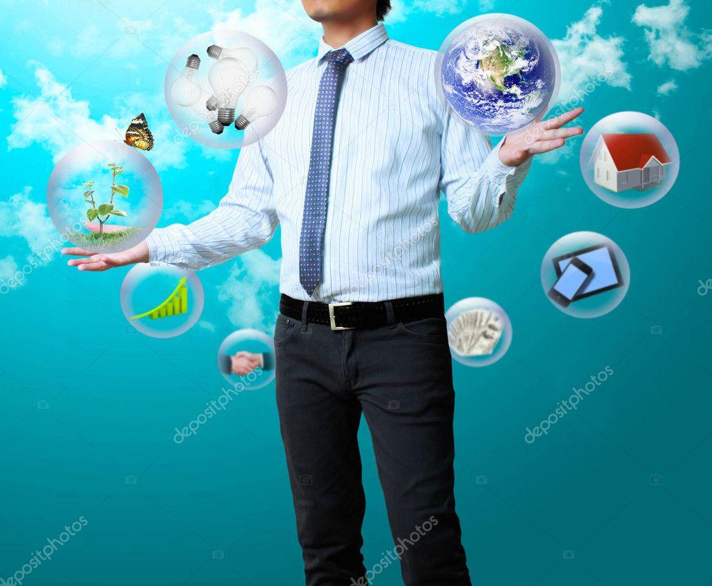Globe in his hands
