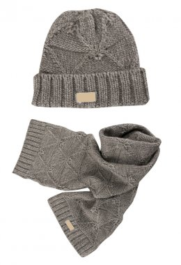 Gray warm woolen knitted winter hat and scarf