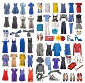 Fotografie kolekce ikon různých oblečení a doplňky pro internet a nápisy