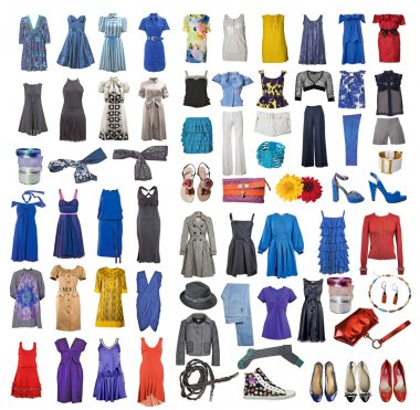 Collection of icons of different clothes and accessories for the Internet and banners