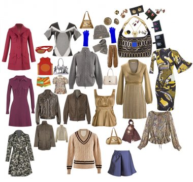 Collection of icons of warm clothing for the Internet