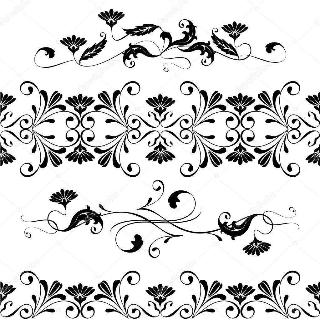 Vector Set Swirling Decorative Floral Elements Ornament Stock