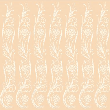 Seamless beige background with swirling decorative floral elements