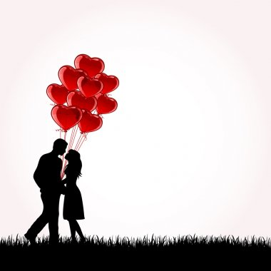 Man and Woman with Balloons, illustration stock vector