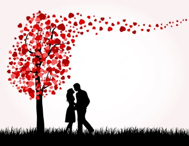 Man, Woman and Love tree with hearts on a grass, illustration stock vector