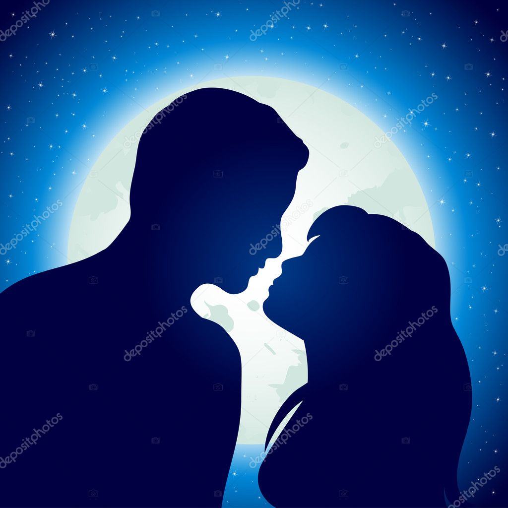 Silhouette of young man and woman in love, illustration clipart vector