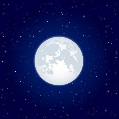Moon on starry sky
