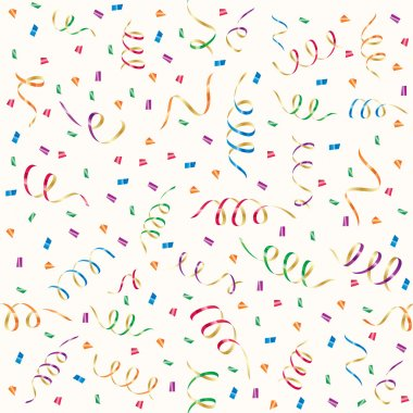 Seamless background with party streamers and confetti, illustration clip art vector
