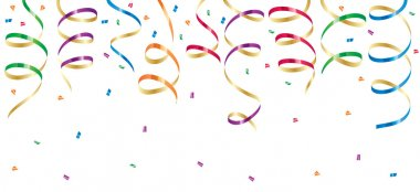 Background with party streamers and confetti, illustration clip art vector
