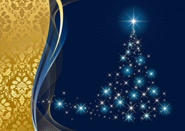 Christmas tree and stars on blue background