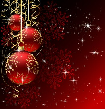Winter background with red christmas balls