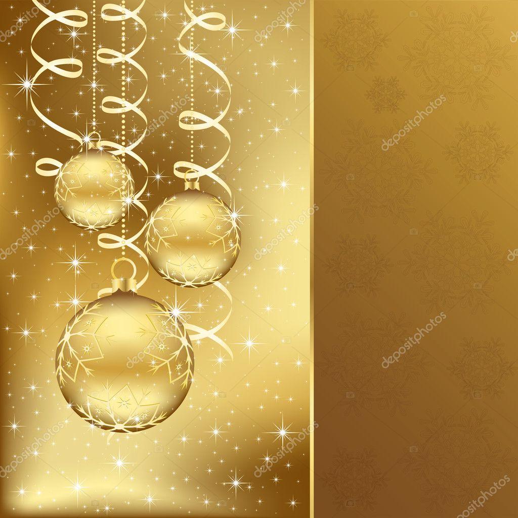 Elegant christmas background with golden balls