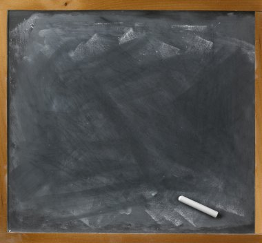 Used blank blackboard and chalk straight on ready for your copy