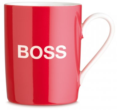 A red tea or coffee mug with boss writen on it stock vector