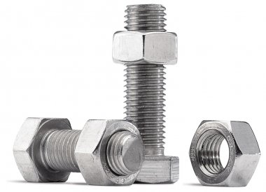 Nuts and bolts on a white background with clipping path