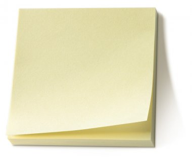 Yellow memo pad isolated on a white background