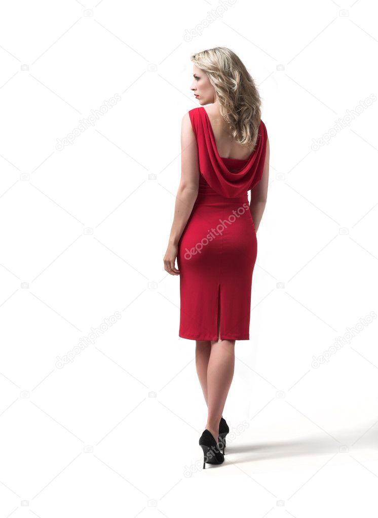 Mooie Rode Jurk.Mooie Rode Jurk Vrouw Achter Witte Achtergrond Stockfoto