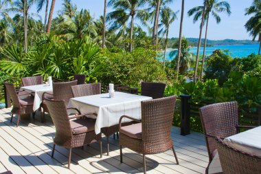 Table and chairs with a beautiful sea view