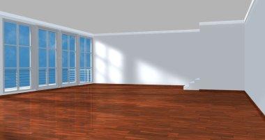 Unfurnished room with parquet floor