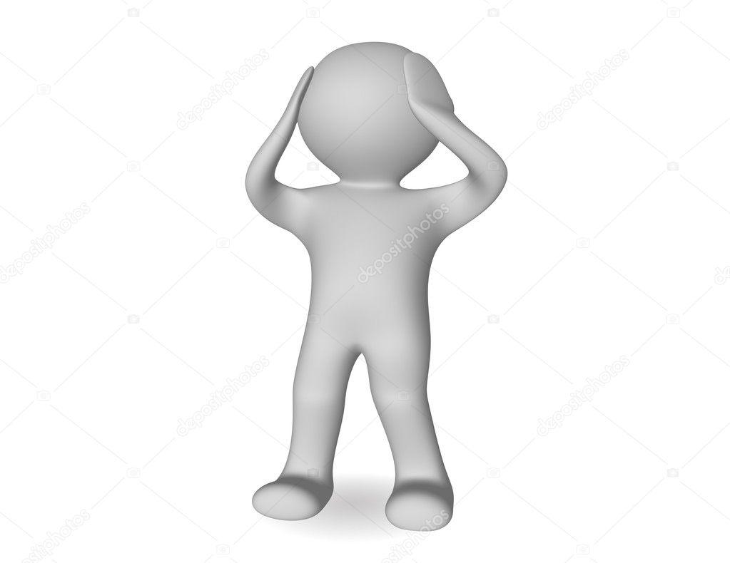 Spaventato l uomo di cartone animato d u foto stock weissdesign